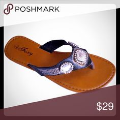 """WEEKEND SALE BRAND NEW JEWELED SUMMER SANDALS Women's Jeweled Summer Sandals 100% BRAND NEW!!! (NO BOX)  Super COMFY & FASHIONABLE!! Heel Height: Flat-0.25"""" (approx) Materials: Upper-PU leather, Bottom-PVC  NO OFFERS on retail items please NO trades or holds Foxy Shoes Sandals"""