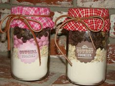 Cowgirl and cowboy cookie mix as party favours.