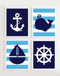Nautische Kindergarten Marine und blau Set 4 von PrincessSnap