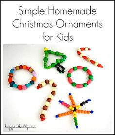 Simple Homemade Christmas Ornament for Kids Using Beads and Pipe Cleaners~ Buggy and Buddy