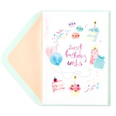 Taylor Swift Birthday Icons Card - Birthday Cards for Her - Birthday - Greeting CardsEncourage the birthday girl to live it up on her special day! Watercolor sweets are accented with glitter and gems on this fabulous card from our Taylor Swift collection.