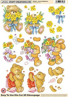 Craft Creations Cute & Cuddly Bears Die-Cut 3D Decoupage Kit DCD502 • EUR 3,51 - PicClick FR