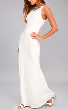 Create the best looks for the big night with our pretty, long homecoming dresses! It's easy to look like a style star with our chic long hoco dresses. Best Maxi Dresses, Hoco Dresses, White Maxi Dresses, Cute White Dress, White Halter Dress, Lace Dress, White Dresses For Women, Little White Dresses, Homecoming Dresses Long