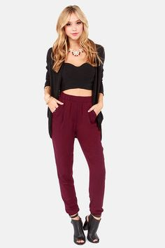 This is a good neutral pant that could stand in for the expected black/grey/tweedy. Note: this style requires a heel.   Harem Shake Burgundy Harem Pants at LuLus.com!