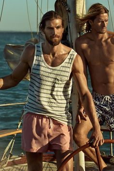 Sail off in the trendiest swim wear for men. H&M. #HMSWIM