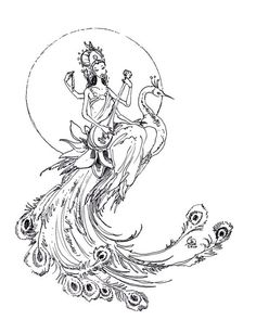 Guan Yiin - Goddess of Mercy - Peacock - Original Ink Drawing - by Stephanie Pui-Mun Law via Etsy