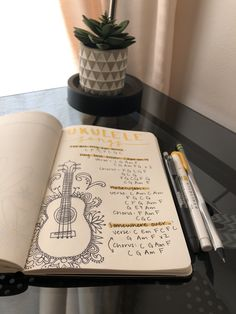 Just bought an Ukulele so I thought I should create a page in my journal for songs! Ukulele Chords Songs, Guitar Chords Beginner, Guitar Songs, Arte Do Ukulele, Music Hacks, Music Journal, Kalimba, Bullet Journal Inspo, Playing Guitar