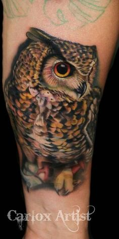 Owl tattoo ~ so damn realistic!
