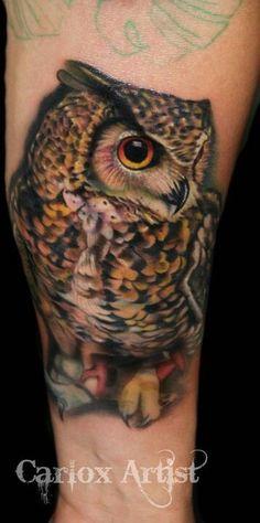 Owl tattoo ~ so damn realistic!