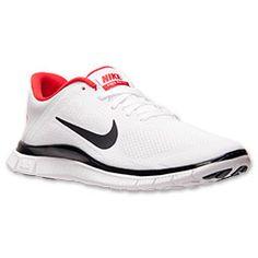 Men's Nike Free 4.0 V3 Running Shoes| FinishLine.com | White/Black/University Red