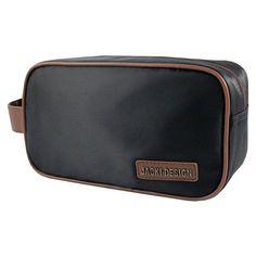 Jacki Design Mens Medium Toiletry Bag Black / Brown - ABC15007BKB