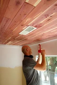 How To Hang A Cedar Plank Ceiling Over Popcorn Ceilings Popcorn Ceiling Plank Ceiling Cedar Planks