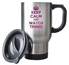 Pink KEEP CALM and Watch Tennis Silver Travel Mug  | eBay
