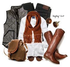 Black & White Vest by taytay-268 on Polyvore featuring American Eagle Outfitters, J.Crew, D&G, Zara, Twist & Tango, Frye, skinny jeans, backpacks, puffer vests and statement scarves