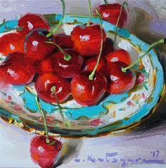 "Daily Paintworks - ""Charming Cherries"" - Original Fine Art for Sale - © Elena Katsyura"