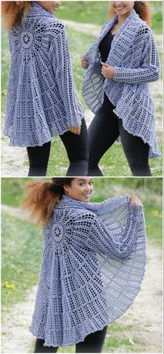 Crochet circular jacket pattern ideas the whoot Crochet Circle Vest, Crochet Shrug Pattern Free, Crochet Baby Jacket, Crochet Coat, Crochet Circles, Crochet Clothes, Free Pattern, Crochet Cardigan, Crochet Shawls And Wraps