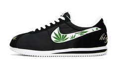 separation shoes 49783 a9535 Bandana Fever Weed Print Custom Black White Nike Cortez Shoes