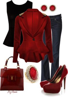 Well I like elements of this ensemble, but the shoulder embellishment is a bit much,and the jewelry doesnt fit my style. Red color is lovely.