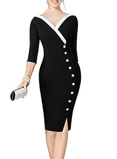 V Neck Chic Wear to Work  Business Pencil Dress