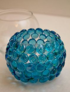 Gem on glass bowl DIY project. I made this recently due to my Mermaid obsession- wanted to use it as a pen/pencil holder at work... The gems keep popping off- might just need to use more glue. But I'm not giving up! Super easy & turned out very cute!!