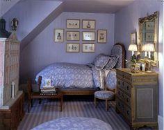 monochromatic attic bedroom