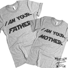 """The listing is for two short-sleeve unisex crew-neck t-shirts with with """"I Am Your Father"""" print on one shirt and """" I Am Your Mother"""" print on the other shirt. All t-shirts are unisex. We carry XS, S,"""