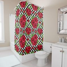 #white - #Rockabilly Red Roses Bouquet Floral Love Shower Curtain