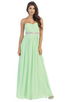 Long Strapless Beaded Sequins Pleated Chiffon Formal Evening Dress - The Dress Outlet - 1