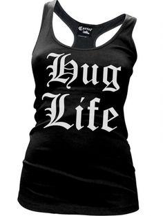 "Women's ""Hug Life"" Tank by Cartel Ink (Black) #InkedShop #racerback #tanktop #tank #huglife #womenswear #womensclothing"