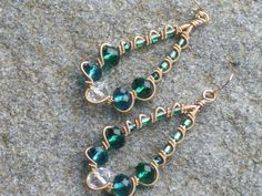 Golden wire wrapped earrings with green clear and turquoise