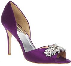 Badgley Mischka purple wedding shoes evening shoes www.finditforweddings.com