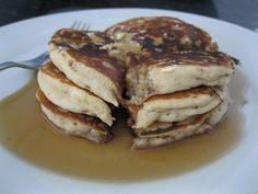 Peanut Butter and Banana Pancakes  What to do with old bananas... (works well with Nutella also)