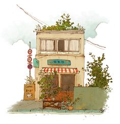 Tokyo Street Coffee Shop - illustrated by Qin Leng