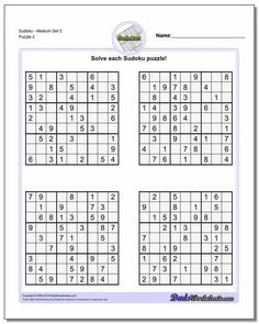 Your steps to Sudoku master necessarily lead you to these medium difficulty puzzles, but you won't be here long I'm sure. These sudoku puzzles have a few more starting numbers than the puzzles on previous pages, but they aren't quite as hard as the hard sudoku in the next section, or (good luck) the evil sudoku that follow...
