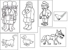 Peter and the Wolf flashcards for matching the characters to the instruments