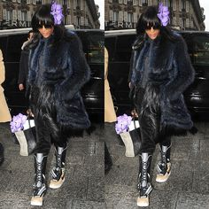 Naomi Campbell Styles the Nike x Riccardo Tisci Sneaker Boots with a Flower and a Fur Coat