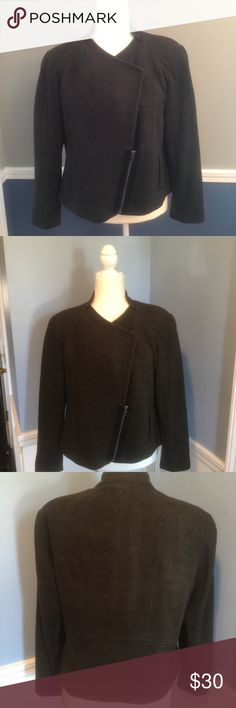 Asymmetrical zippered blazer Absolutely stunning asymmetrical zippered blazer. Adorable detailing on the underarm, Cotton and spandex mix. Coldwater Creek Jackets & Coats Blazers