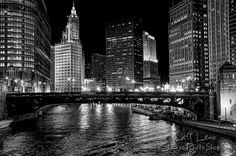 Chicago River in B&W