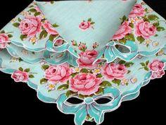 vintage pink rose handkerchief