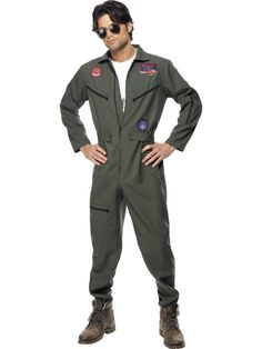 Buy Adult Top Gun Pilot Costume, available for Next Day Delivery. Our Adult Official Men's Top Gun Pilot Costume comes complete with the All in One Khaki Green Jumpsuit with Name Badges and Aviator Glasses. Top Gun Fancy Dress, 1980s Fancy Dress, Denim Shop, Movie Costumes, Adult Costumes, Pilot Costumes, Top Gun Kostüm, Top Gun Movie, Style Outfits