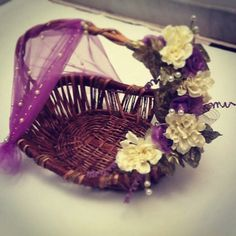 1st choice gift : Basket with flower decor. Product available at: https://www.facebook.com/1stchoicegift