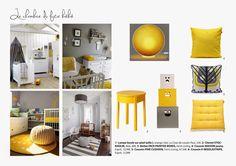 planche tendance chambre enfant jaune et grise