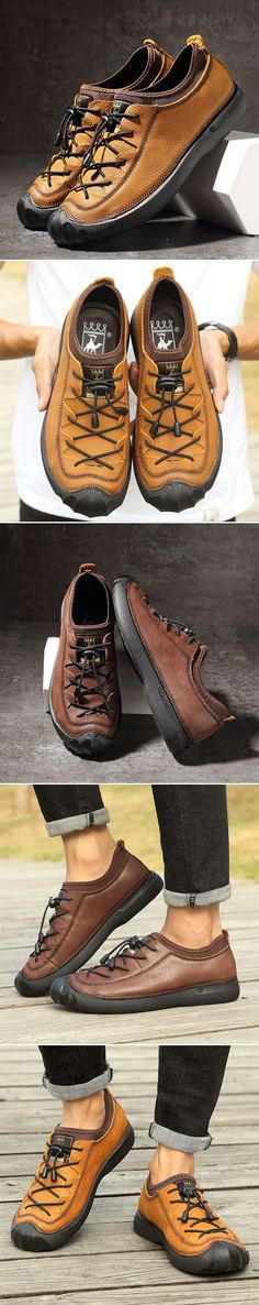 US$57.43 Men Genuiner Leather Outdoor Anti-collision Toe Elastic Laces Casual Shoes