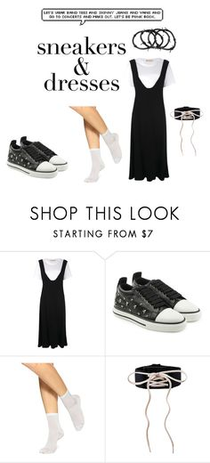 """#sneakersanddresses"" by petra-blefluf ❤ liked on Polyvore featuring Marni, RED Valentino, Hue and SNEAKERSANDDRESSES"