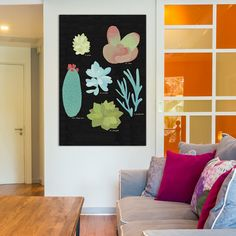 "Bungalow Rose Succulent Plant Chart II Painting Print on Wrapped Canvas Size: 60"" H x 40"" W x 1.5"" D"