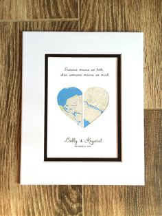 Long Distance Relationship Gift, Gift for Girlfriend or Boyfriend, Long Distance Love, Personalized Map Print, Long Distance Quote Long Distance Relationship Gifts, Long Distance Gifts, Distance Relationships, Wedding Vow Art, Heart Map, First Anniversary Gifts, Paper Hearts, Custom Map, Personalized Wedding Gifts