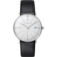 Junghans 047/4251.00 Women's Max Bill Damen Stainless Steel Leather... (£445) ❤ liked on Polyvore featuring jewelry, watches, dial watches, junghans, polish jewelry, evening jewelry and cocktail jewelry