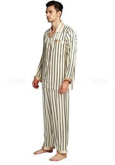 Men s Sleepwear Set Silk Satin Pajamas Set Striped 3753daf86