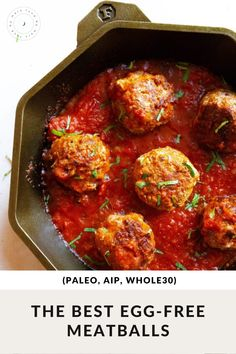 These easy meatballs are eggless made without breadcrumbs and are Paleo, Whole30, and AIP-friendly! Egg Recipes, Dairy Free Recipes, Paleo Recipes, Real Food Recipes, Gluten Free, Paleo Meals, Dinner Recipes, How To Make Meatballs, Sin Gluten