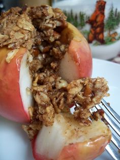 Baked Apples with Oatmeal Cookie Stuffing
